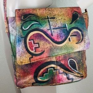 VTG Wearable Art Hand Painted Leather Crossbody